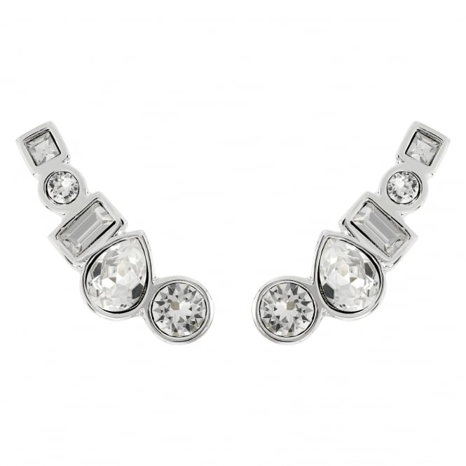 Adore Silver Multi Shape Ear Crawler Earring Created With Swarovski® Crystals