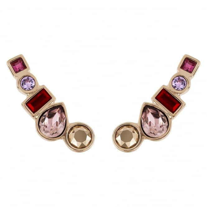 Gold Multi Shape Pink/ Red Ear Crawler Earring Created With Swarovski Crystals