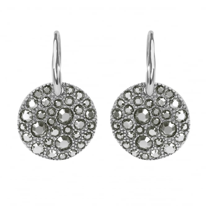 Adore Silver Pave Disc Drop Earrings Created With Swarovski® Crystals
