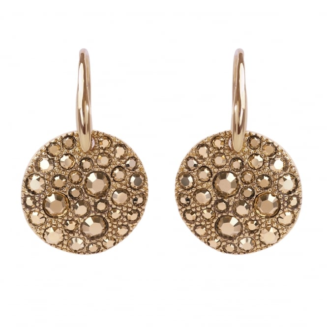 Adore Gold Pave Disc Drop Earrings Created With Swarovski® Crystals