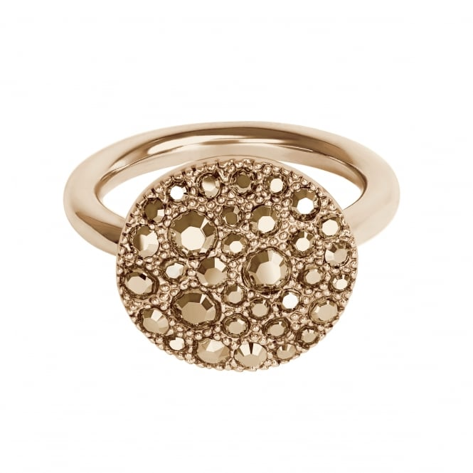 Metallic pave disc ring created with Swarovski crystals