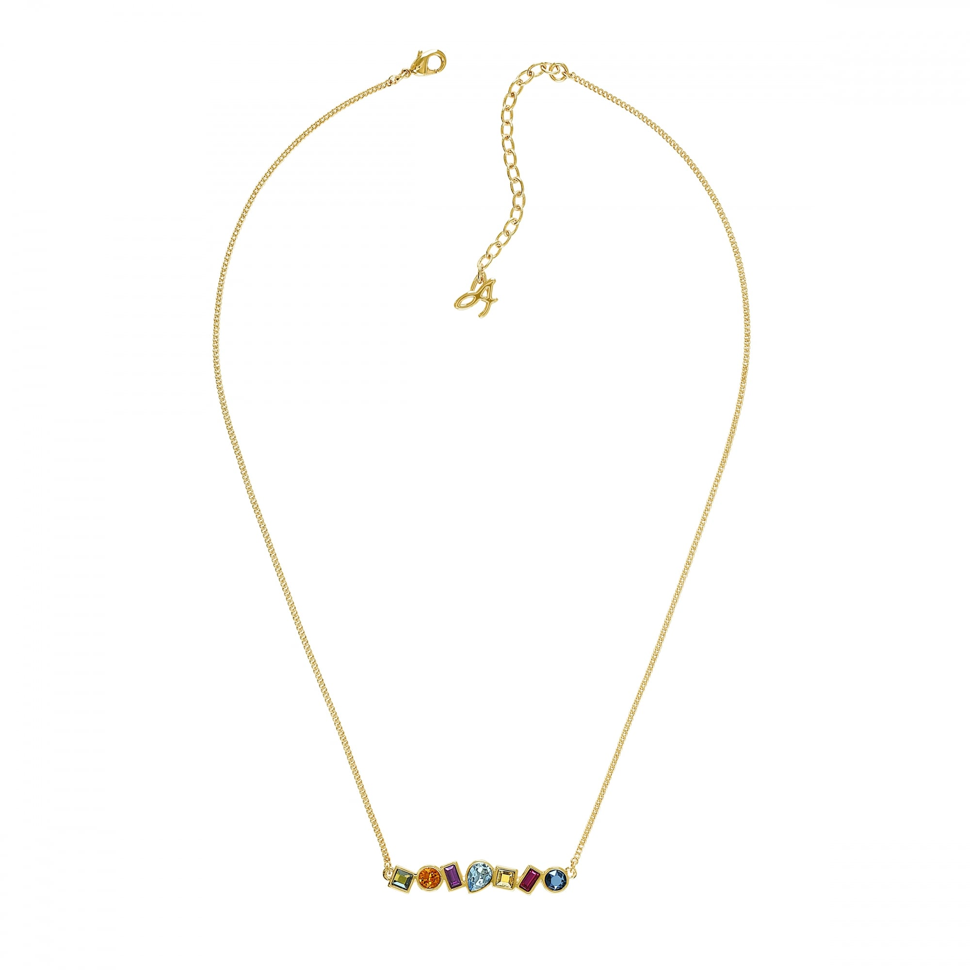 Multi Shape Bar Necklace Created With Swarovski Crystals