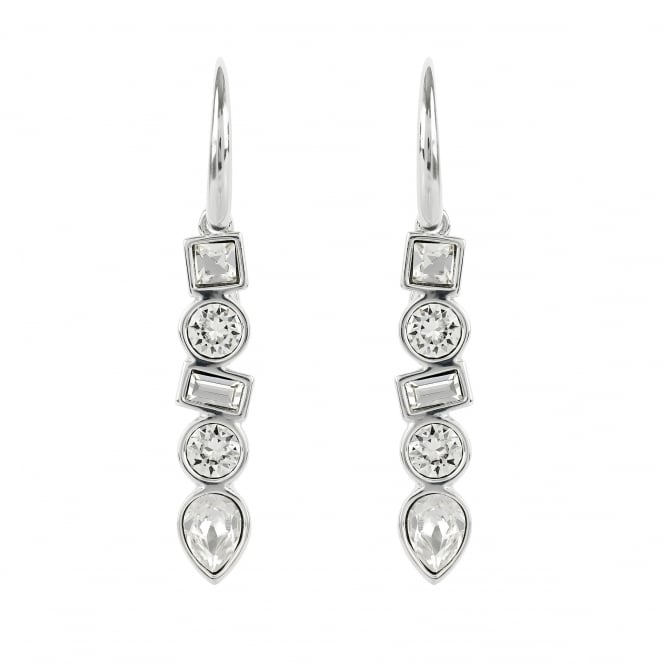 Silver Multi Shape Drop Earring Created With Swarovski Crystals