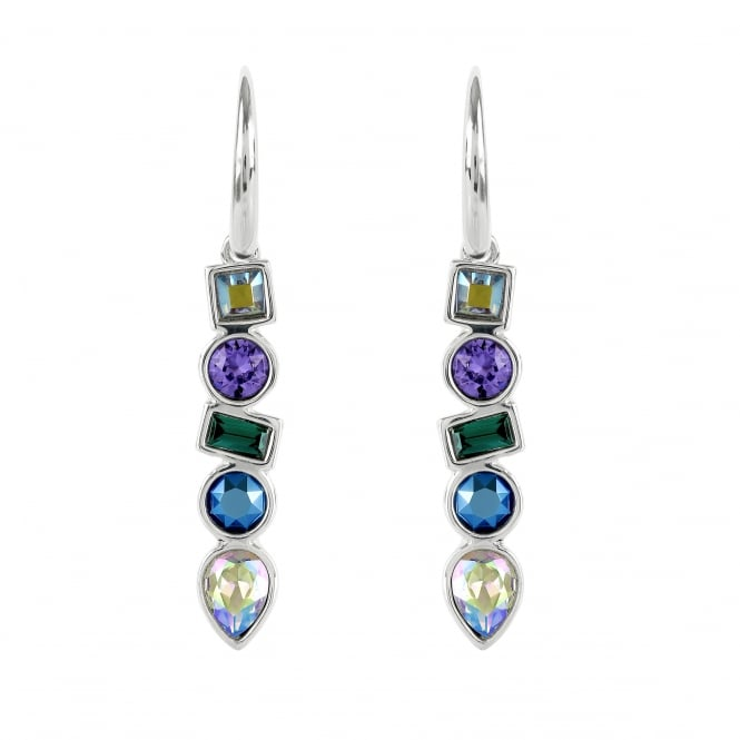 Adore Silver Multi Shape Blue/ Green Drop Earring Created With Swarovski® Crystals