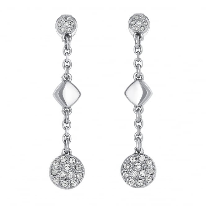 Silver Pave Disc Drop Earrings Created With Swarovski Crystals