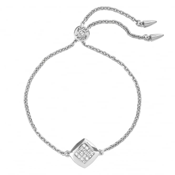 Silver Pave Square Toggle Bracelet Created With Swarovski Crystals