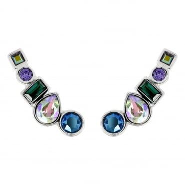 68138ca87 Silver Multi Shape Blue/ Green Ear Crawler Earring Created With Swarovski®  Crystals
