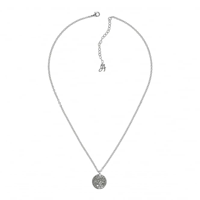 silver pave disc necklace created with swarovski crystals