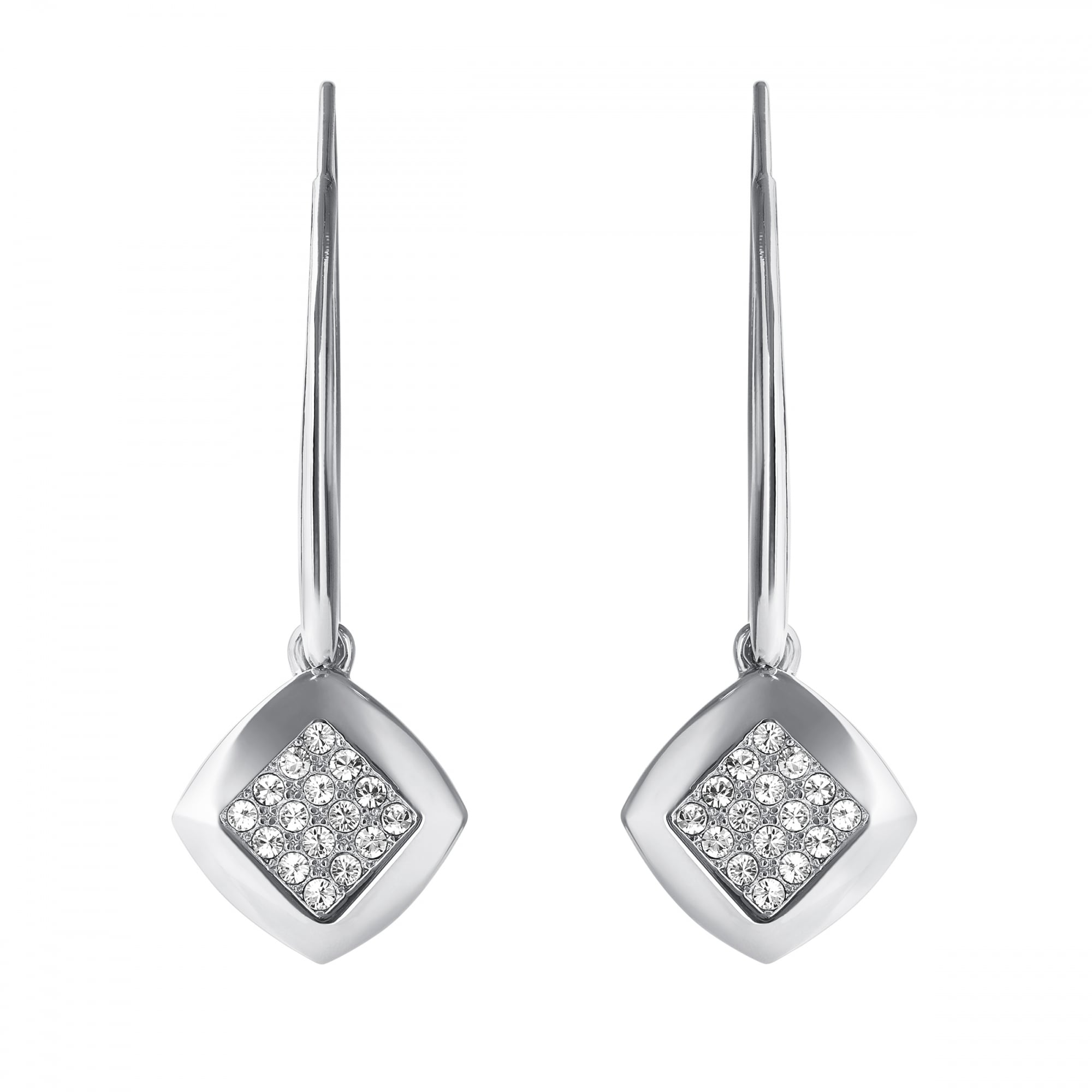 Silver Pave Square Drop Earring Created With Swarovski Crystals
