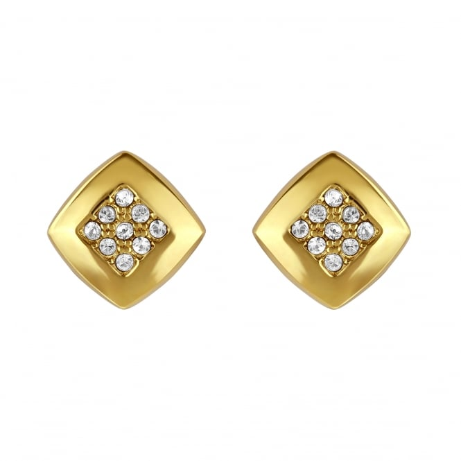 Adore Gold Pave Square Stud Earring Created With Swarovski® Crystals