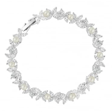 Aurora pearl and cubic zirconia bracelet