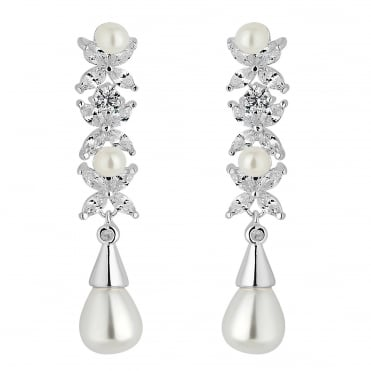 Designer Aurora Silver Pearl And Cubic Zirconia Drop Earring