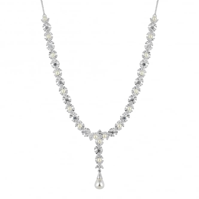 Alan Hannah Devoted Designer Aurora Silver Pearl And Cubic Zirconia Y Drop Necklace