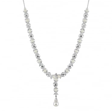 Aurora pearl and cubic zirconia necklace