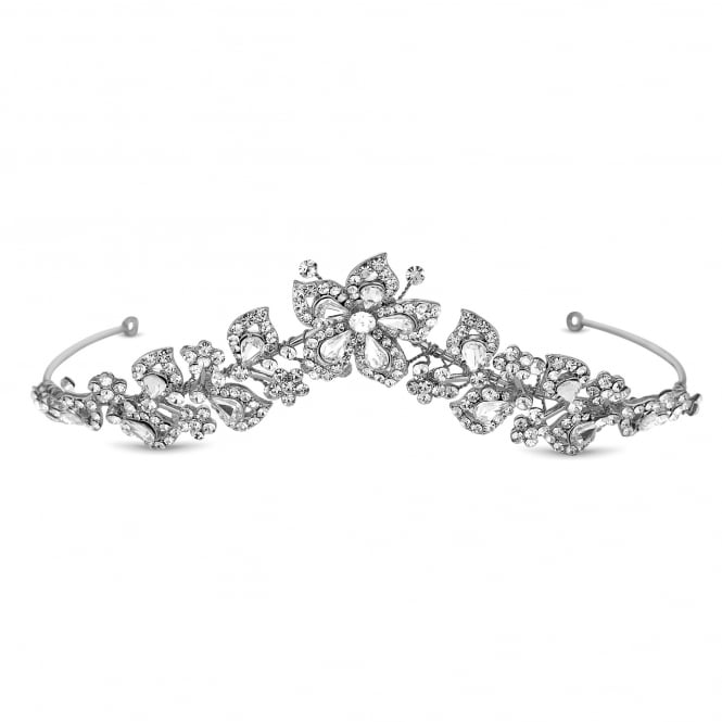 Alan Hannah Devoted Designer Silver Crystal Botanical Leaf Tiara