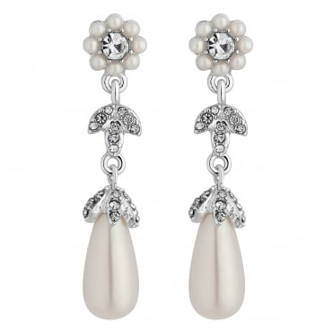 Designer Silver Pearl Floral Daisy Chain Drop Earring