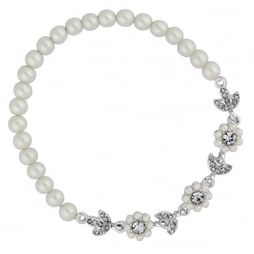 Designer Silver Pearl Floral Daisy Chain Stretch Bracelet