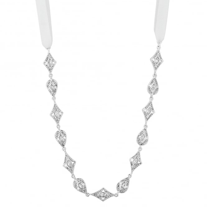 Designer Silver Art Deco White Ribbon Headband