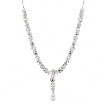 Designer Aurora Silver Pearl And Cubic Zirconia Y Drop Necklace