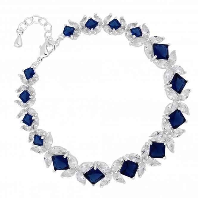Designer Blue Cubic Zirconia Floral Link Bracelet