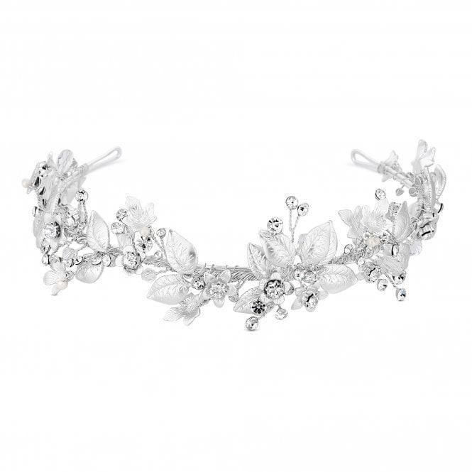 Designer Crystal Floral Leaf Headband