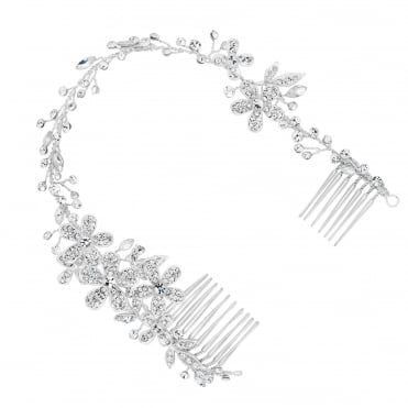 Designer Silver Crystal Flower Wrap Around Double Hair Comb