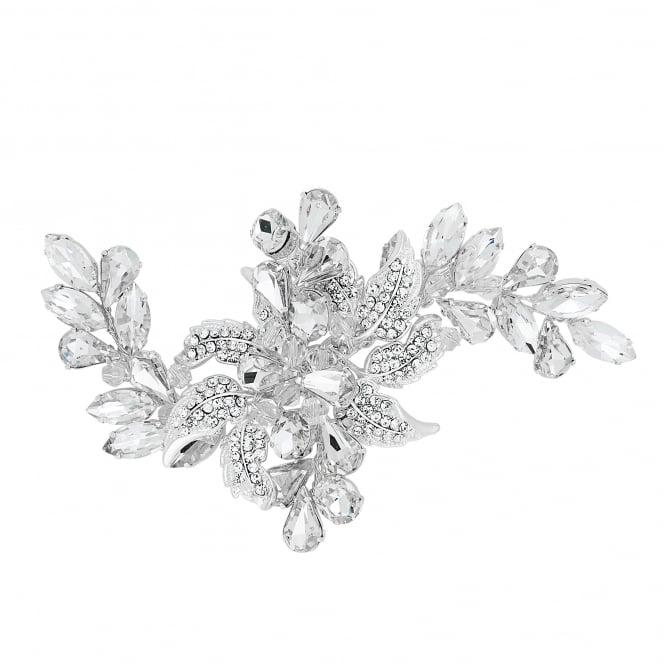 Designer Silver Crystal Leaf Navette Flower Hair Slide