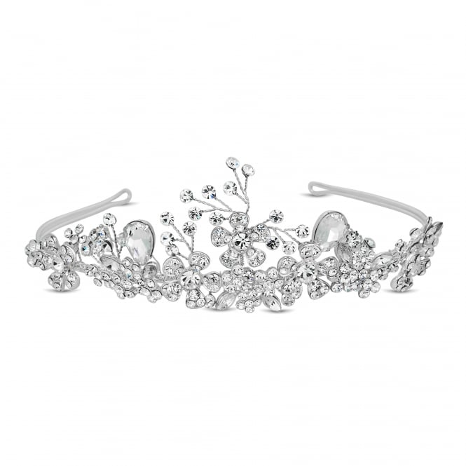 Designer crystal peardrop and floral spray tiara