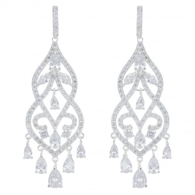 Designer Silver Crystal Filigree Statement Chandelier Earring