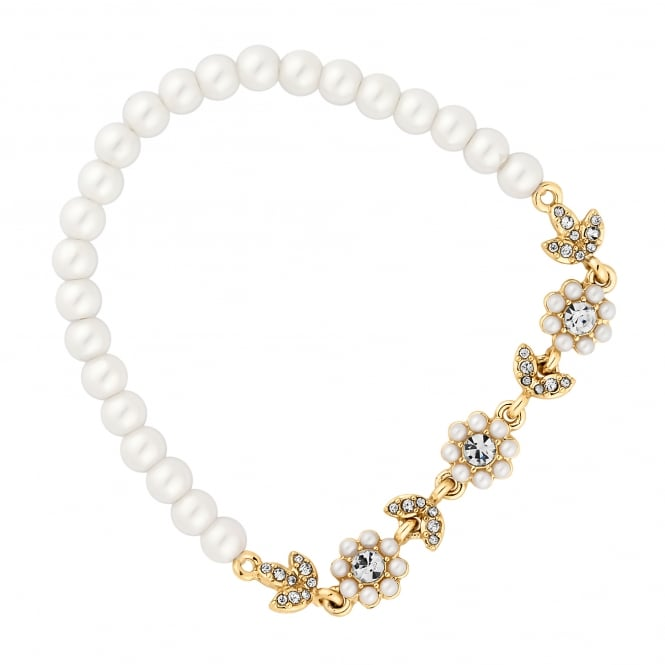 Alan Hannah Devoted Designer Gold Pearl Floral Stretch Bracelet