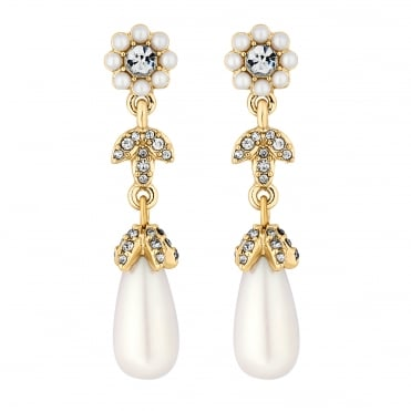 Designer Gold Crystal And Pearl Floral Drop Earring
