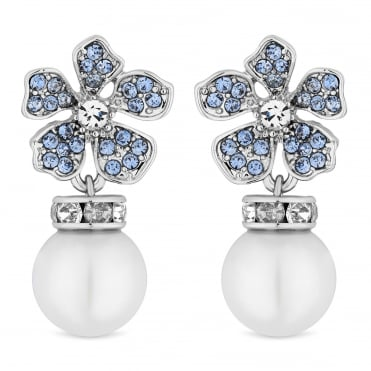 Designer Silver Blue Crystal And Pearl Flower Drop Earring