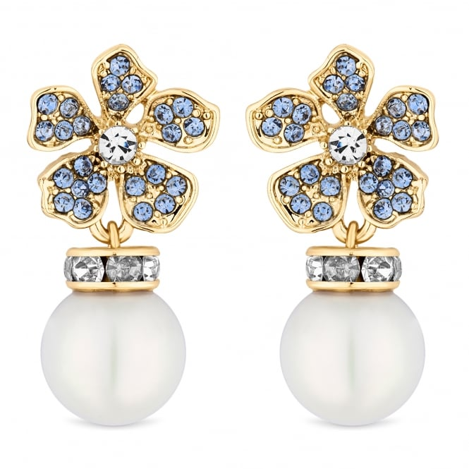 Alan Hannah Devoted Designer Gold Blue Crystal And Pearl Flower Drop Earring