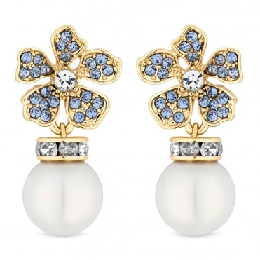 Designer Gold Blue Crystal And Pearl Flower Drop Earring