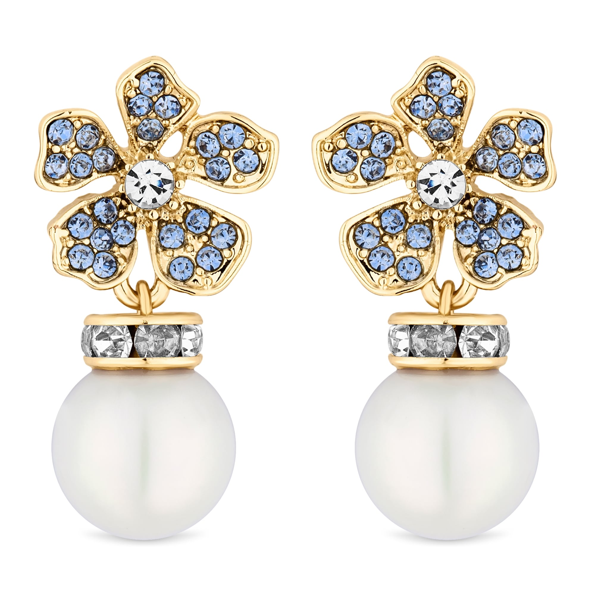 Alan Hannah Devoted Designer Gold Blue Crystal And Pearl Flower Drop