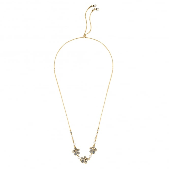 Designer Gold Blue Crystal And Pearl Flower Toggle Necklace
