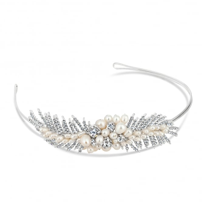 Designer freshwater pearl and crystal leaf headband