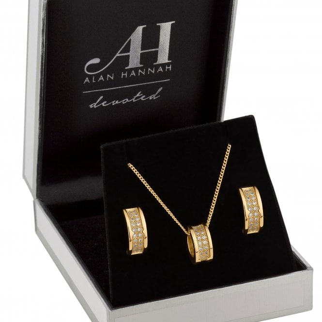 Designer Gold Cubic Zirconia Barrel Jewellery Set