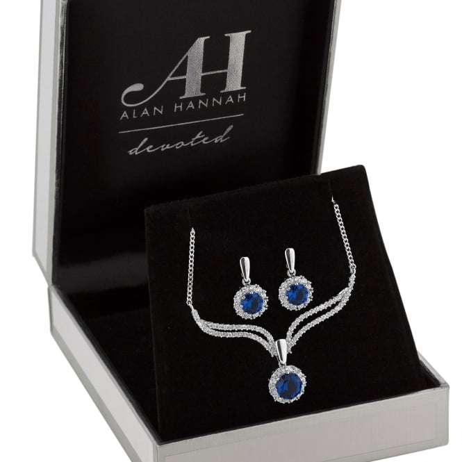 Designer Silver Blue Crystal Halo Drop Jewellery Set In A Gift Box