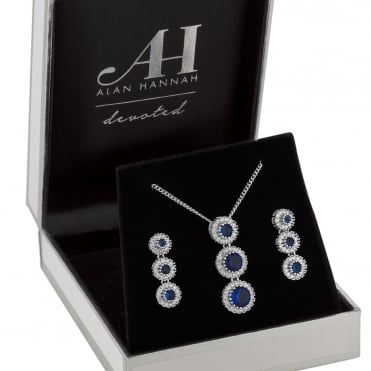 Designer Silver Blue Halo Drop Jewellery Set In A Gift Box