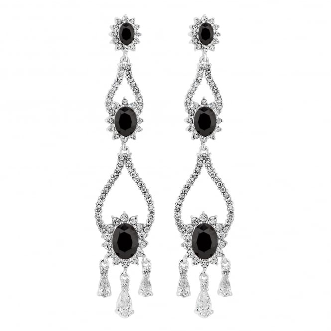 Designer Silver And Black Halo Statement Drop Earring