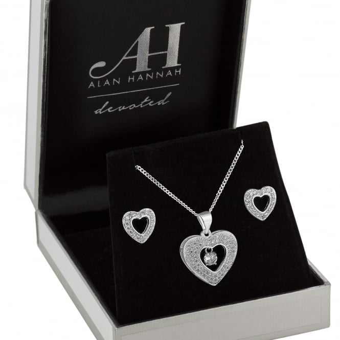 Alan Hannah Devoted Designer Silver Heart Jewellery Set In A Gift Box