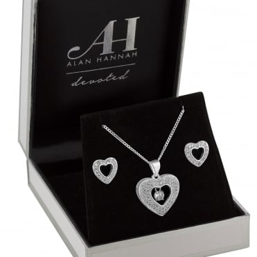 Designer Silver Heart Jewellery Set In A Gift Box