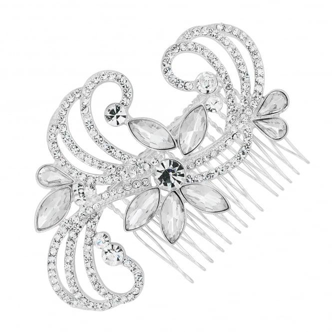 Designer Silver Crystal Navette Embellished Swirl Hair Comb