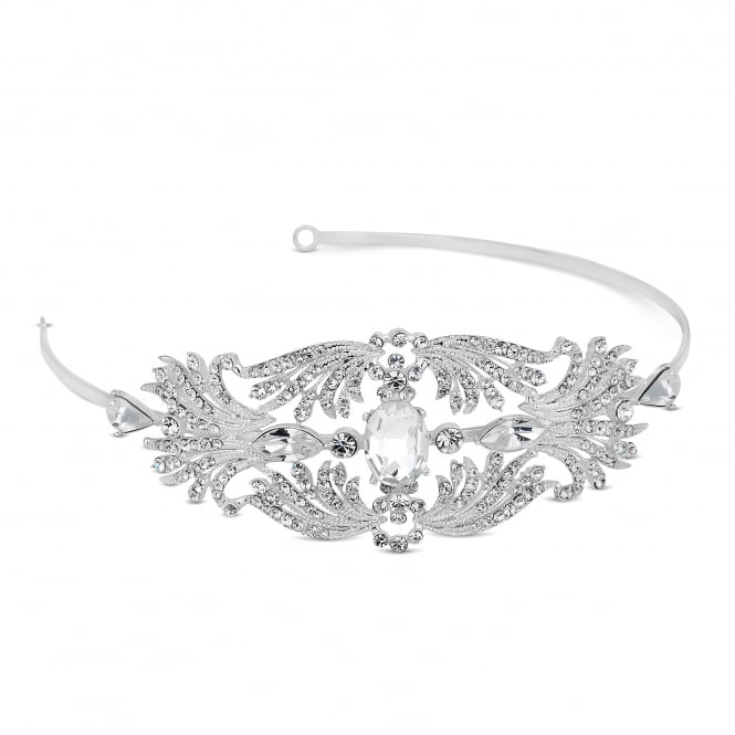 Designer Silver Crystal Oval Stone Spray Surround Headband
