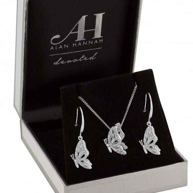 Alan Hannah Devoted Designer Silver Pave Butterfly Jewellery Set In A Gift Box