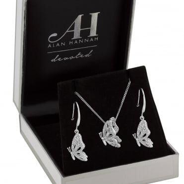 Designer pave butterfly jewellery set in a gift box