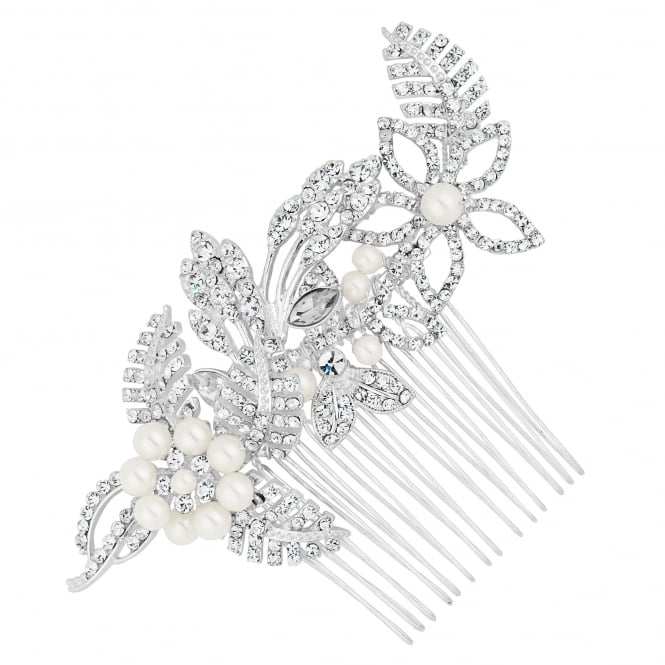 Alan Hannah Devoted Designer Silver Pearl Flower And Crystal Leaf Hair Comb