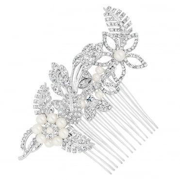 Designer Silver Pearl Flower And Crystal Leaf Hair Comb