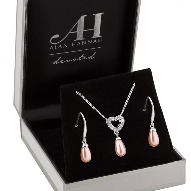 Alan Hannah Devoted Designer Silver Pink Pearl Heart Jewellery Set In A Gift Box